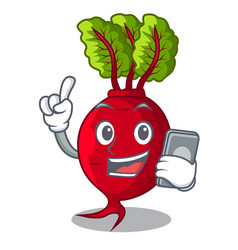 With phone cartoon fresh harvested beetroots in vector