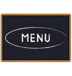 Word menu chalk written on a blackboard vector