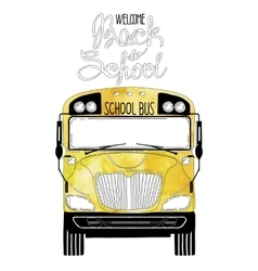 Yellow school bus in front view vector