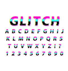 glitch typography noise font lettering typeface vector image