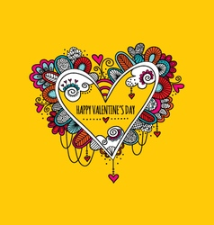 Happy Valentines Day Hand Drawn Doodle vector image