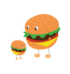 two characters of hamburgers vector image