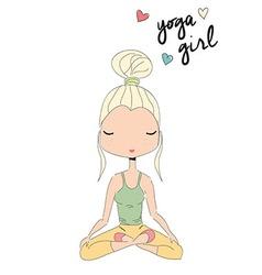Yoga girl sitting in lotus pose hand drawn vector