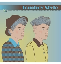 Girls in the style of tomboy vector
