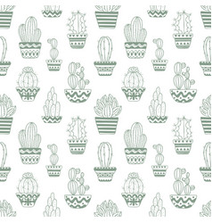 hand drawn sketch pattern cactus vector image
