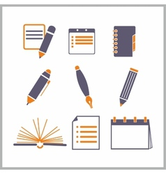 Icons of notepads and pencils vector image