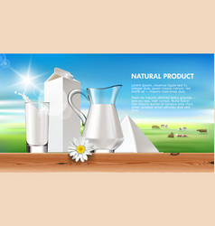milk and dairy on a background vector image