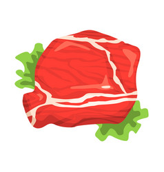 piece of raw beef food item rich in proteins vector image vector image