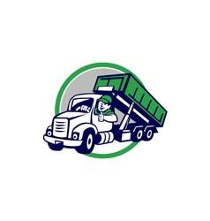 Roll-Off Bin Truck Driver Thumbs Up Circle Cartoon vector image vector image