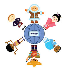 set of persons different nationality around planet vector image