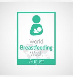 world breast feeding week icon vector image