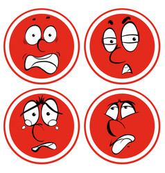different expression on red circle vector image vector image