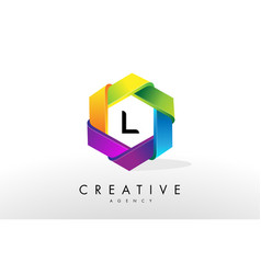 l letter logo corporate hexagon design vector image vector image