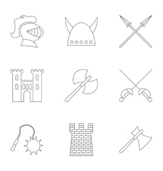 Military armor icons set outline style vector image