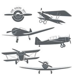 set of vintage airplane vector image