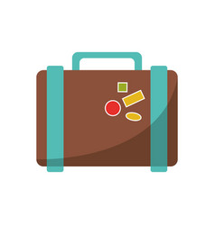 suitcase travel with stickers icon vector image