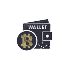 bitcoin wallet emblem crypto currency label and vector image
