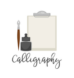 calligraphy simple tools isolated cartoon vector image