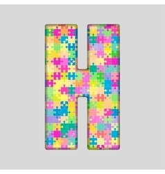 Color Piece Puzzle Jigsaw Letter - H vector image vector image