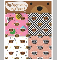 Set of animal seamless patterns with bear 2 vector