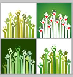 set of green volunteers caring up hands hearts vector image vector image