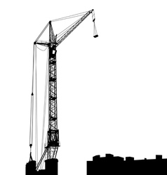 Silhouette of one cranes working on the building vector image