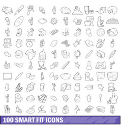 100 smart fit icons set outline style vector image