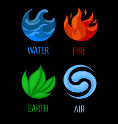 4 elements nature art icons water earth fire vector