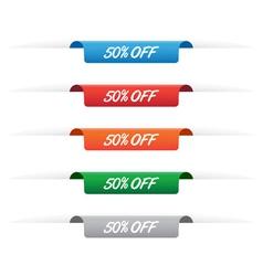 50 percent off paper tag labels vector image