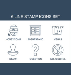 6 stamp icons vector