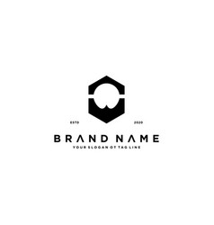 Abstract beard logo design vector