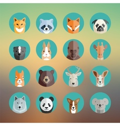 Animal Portraits Icon Set in Flat Style With vector