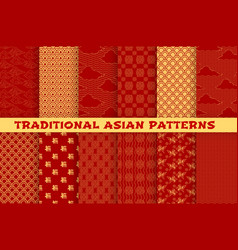 Asian seamless pattern of oriental golden ornament vector