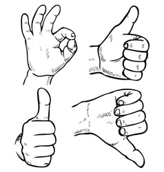 Bad and good hands vector