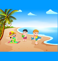 beach view with the children playing vector image