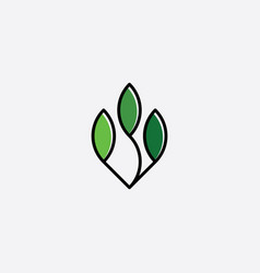 bio organic leaves symbol icon clipart element vector image