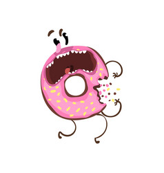 Bitten donut with pink glaze and sprinkles vector