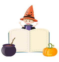 book template with boy on halloween costume vector image