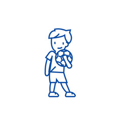 boy with ball line icon concept boy with ball vector image
