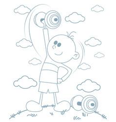 Boy with dumbbells vector