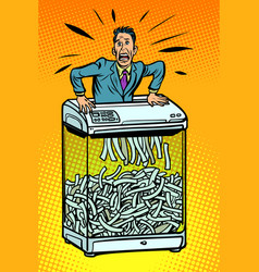 businessman in paper shredder office appliance vector image