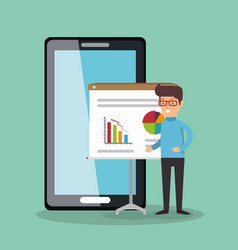 Businessman working with smartphone vector