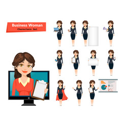 Businesswoman with various things set of cute vector