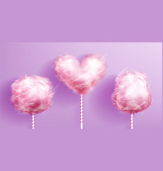 Candy cotton heart shaped on pink striped stick vector