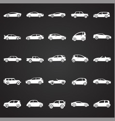 Cars collection set on black background for vector