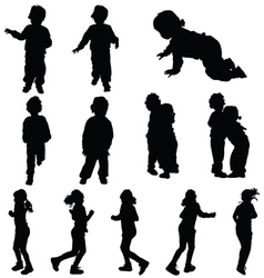 Children cute silhouette vector