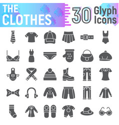 clothes glyph icon set cloth symbols collection vector image