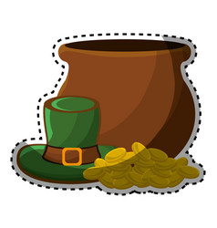 Coins inside of flowerpot with green hat vector