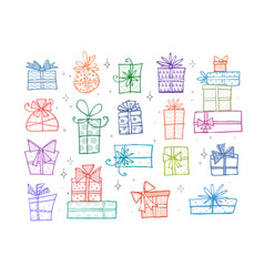 collection colored doodle sketch christmas gift vector image