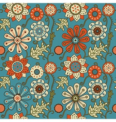 Colorful floral seamless pattern in cartoon style vector image